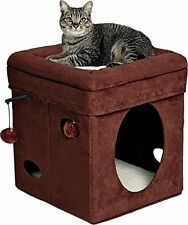 MidWest Homes for Pets Curious Cat Cube, Kitten Toys, Brown Suede NEW