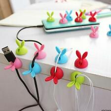 4x Rabbit Cable Drop Clip Desk Tidy Organiser Wire Cord USB Charger Holder Sale
