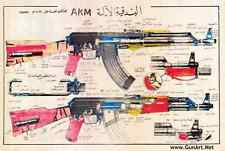 Crude AK-47 7.62 AKM Color Iraqi Poster As Saddam Probably ordered   See photo!