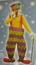 ADULT RAINBOW CLOWN CIRCUS FANCY DRESS OUTFIT/COSTUME HOOPED TROUSERS/HAT/BOW