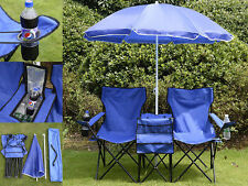 Folding Picnic Double Chair With Umbrella Table Cooler Beach Camping Chair