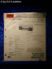 Sony Service Manual CFS 230L Cassette Recorder (#0370)