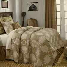 TRADE WINDS 4 PC QUEEN QUILT BEDDING SET PINEAPPLE PATTERN OLIVE SANDS GOLD