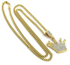"""Mens Gold Plated Iced Out Crown Hip-Hop Pendant 30"""" Cuban Chain Necklace D280"""
