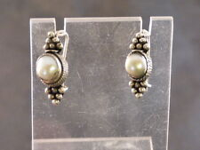 STERLING SILVER & NATURAL WHITE OVAL PEARL DANGLE DROP PIERCED EARRINGS .925