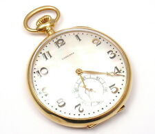 VINTAGE RARE LONGINES 18k YELLOW GOLD MOP DIAL POCKET WATCH