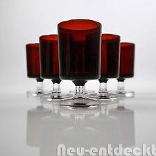 6er Set Luminarc Wein Glas Gläser vintage Likör rot Sekt France 60er 70er D524