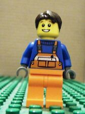 LEGO MINIFIGURE–TOWN CITY–ORG OVERALL, BLUE SHIRT, BRN TOUSLED HAIR–GENT USED