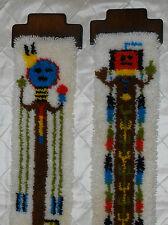 "Vtg KITCH Pair Completed 70's Kachina Latch Hook Wall Art Hanging 9 1/8"" X40"" ea"