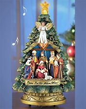 Lighted Musical Christmas Tree Nativity Figurine Music Box Holiday Sculpture