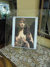 Vintage Large Etched Glass Picture Frame