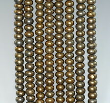 6X4MM IRON PYRITE GEMSTONE GOLD RONDELLE LOOSE BEADS 7.5""