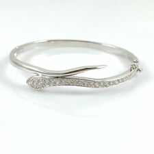 925 Sterling Silver Ladies Bangle Bracelet Hinged Snake Hallmarked Gift 7.5""