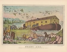 "1952 Vintage Currier & Ives ""NOAH'S ARK"" FULL OF ANIMALS BIBLE COLOR Lithograph"