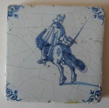 """17th Century DUTCH DELFT TILE """"RIDER WITH DRAWN SWORD"""" -looking right- (c.1675)"""