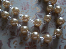 Gold 6mm Glass Pearls on Silver Beaded Chain - Qty 18 inch strand