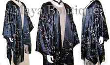 Caftan Kimono Duster Embroidered Silk Charmeuse Fringed & Lined New