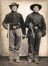 "Civil war soldiers page, Young Men, Sharps rifles & Colt revolvers, 16x11"" photo"