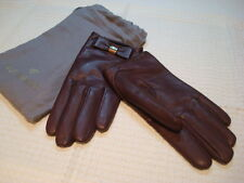 100% Authentic Women's Mulberry Deep Purple / Plum Leather Gloves Size S BN