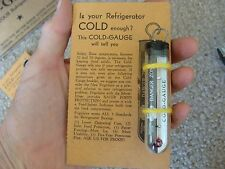 NOS 1930s Frigidaire Refrigerator Cold Gauge Thermometer with Card Vintage