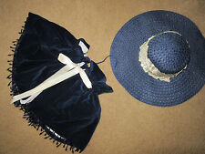 Victorian Dickens Edwardian theater costume navy hat/velvet CAPE accessories
