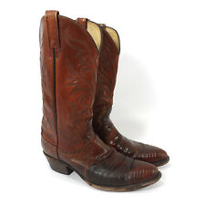 DAN POST Brown Leather Exotic Skin Cowboy Boots Size Men's Size 9 D