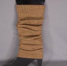 Brown knit leg warmers knee thigh high under tall long boot cuffs welly liners