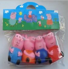 Vinyl Figure 4pc Set Peppa Pig Peppa & Family George Mummy Daddy Pack Bath Toys
