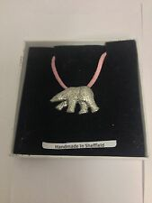 Polar Bear PP-A08 Pewter Pendant on a PINK CORD Necklace