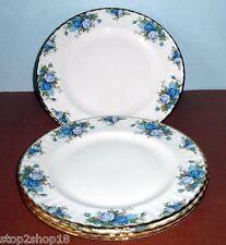 Royal Albert MOONLIGHT ROSE Dinner Plate SET OF 4 Blue Roses Gold Trim New