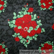BonEful Fabric FQ Cotton Quilt Black Gray Red Rose*bud Flower Damask Green Toile