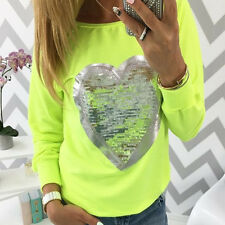Womens Sequin Heart Long Sleeve T-Shirt Tops Casual Sweatshirt Tunic Blouse 6-14