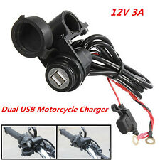 12V Waterproof 2USB Port Motorcycle Mobile Phone GPS Power Supply Charger Socket