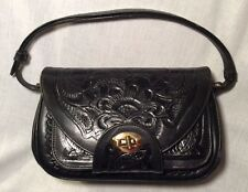 VTG Women's Hand-tooled Thick Black Leather Western Style Purse Clutch Handbag