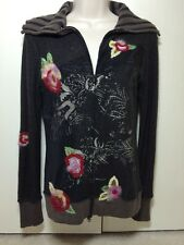 Anthropologie One Girl Who Black Brown Floral Embroidery Cardigan Sweater Zip S