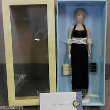 Franklin Mint Princess Diana Vinyl Doll Black Velvet Gown MIB LE/1000 COA