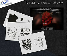 Step by Step Airbrush Schablone AS-282 M Demon ~ Tattoo Stencil ~ UMR-Design