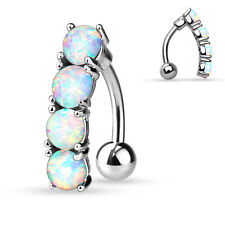 1 Pc 4 White Fire Opal Prong Set Vertical Drop Reverse Navel Ring 14g 3/8""