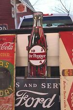 "RARE 40"" DR PEPPER SODA EMBOSSED METAL BOTTLE POP SIGN COKE CRUSH PEPSI"