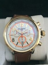 NEW Paul Perret 14066 Men's VOLTAIRE Series Brown Leather Chrono Watch