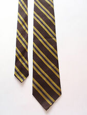 Vintage Mens Brown Gold Striped Necktie Classic Acetate Rayon Blend Retro Preppy