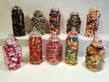 10 Medium 1L Plastic Sweet Jars DIY Candy Sweet Buffet Wedding/Party Christening