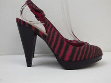 New Look striped shoes size 5 BNWOT pink and brown slingback platform