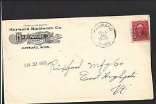 HAYWARD,MINNESOTA COVER,1903, ADVT HAYWARDE HARDWARE CO. FREEBORN CO 1864/OP.
