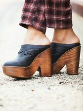 FREE PEOPLE $228 BLACK LEATHER CHANCE PLATFORM CLOGS SHOES 39  9