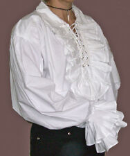 NEW Men's Gothic/ Pirate White Cotton Ruffle Shirt M