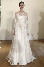 White/Ivory Lace Appliques Long Cloak Mantle Wedding Jacket Bridal Gown Overlay