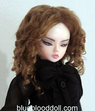"1/4 bjd 7-8"" doll head brown color curly wig MSD Luts kids W-182M"
