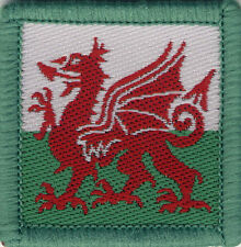 Welsh Flag Dragon Woven Badge, Patch, 39mm x 39mm