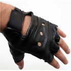 MENS BLACK LEATHER FINGERLESS DRIVING MOTORCYCLE BIKER GLOVES Work Out Exercise